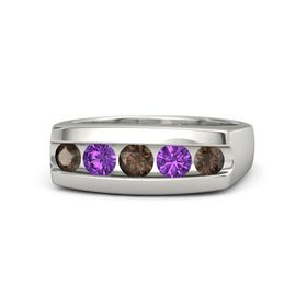 Round Smoky Quartz Platinum Ring with Amethyst and Smoky Quartz
