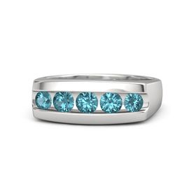 Men's Round London Blue Topaz Sterling Silver Ring with London Blue Topaz