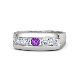Men's Round Amethyst Sterling Silver Ring with Diamond