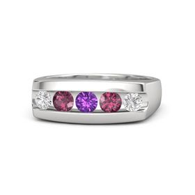 Round Amethyst Sterling Silver Ring with Rhodolite Garnet and White Sapphire
