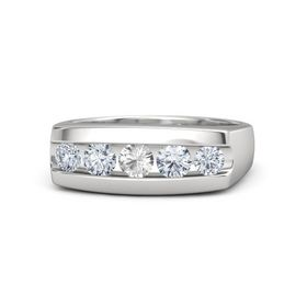 Men's Round Rock Crystal Sterling Silver Ring with Diamond