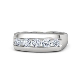 Men's Round Diamond Sterling Silver Ring with Diamond