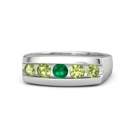 Men's Round Emerald Sterling Silver Ring with Peridot