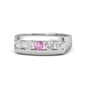Men's Round Pink Sapphire Sterling Silver Ring with White Sapphire