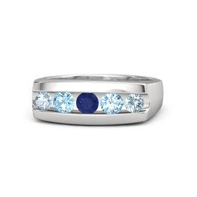 Men's Round Sapphire Sterling Silver Ring with Blue Topaz & Aquamarine