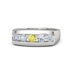 Men's Round Yellow Sapphire Sterling Silver Ring with Diamond
