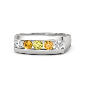 Round Yellow Sapphire Sterling Silver Ring with Citrine and White Sapphire
