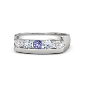 Men's Round Tanzanite Sterling Silver Ring with Diamond & White Sapphire