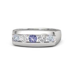 Round Tanzanite Sterling Silver Ring with White Sapphire and Diamond