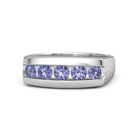 Men's Round Tanzanite Sterling Silver Ring with Tanzanite