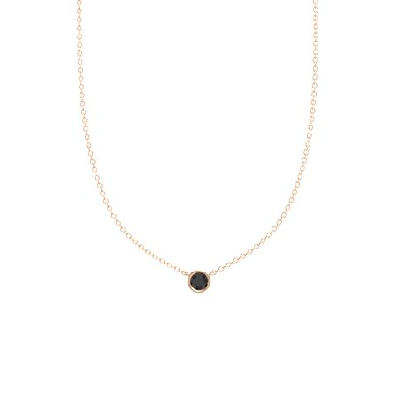 Round black diamond 14k rose gold pendant gemstones by the yard gemstones by the yard solitaire necklace 5mm gem aloadofball Image collections