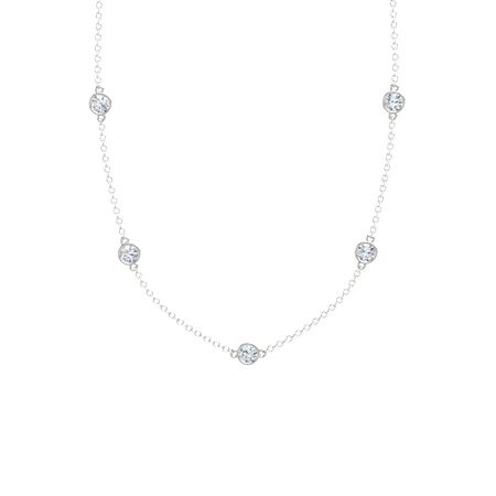 Round diamond 14k white gold necklace with diamond gemstones by gemstones by the yard 5 stone necklace aloadofball Images