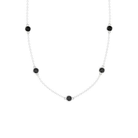 Round black diamond 14k white gold pendant with black diamond and gemstones by the yard 5 stone necklace aloadofball Image collections