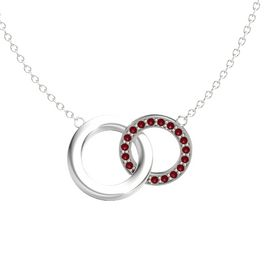 14K White Gold Necklace with Ruby