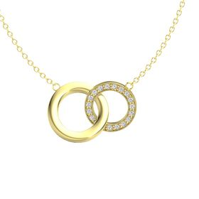 14K Yellow Gold Necklace with White Sapphire