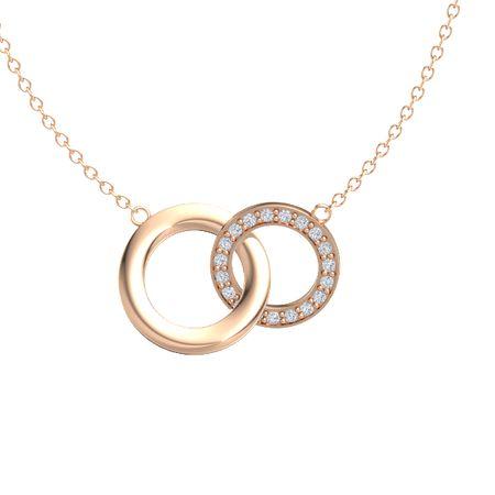 314a5a87a 14K Rose Gold Pendant with Diamond   Interlocking Circle Pendant ...