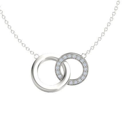 14k white gold necklace with diamond interlocking circle pendant interlocking circle pendant aloadofball Image collections