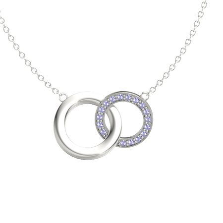 14k white gold necklace with tanzanite interlocking circle pendant interlocking circle pendant aloadofball Image collections