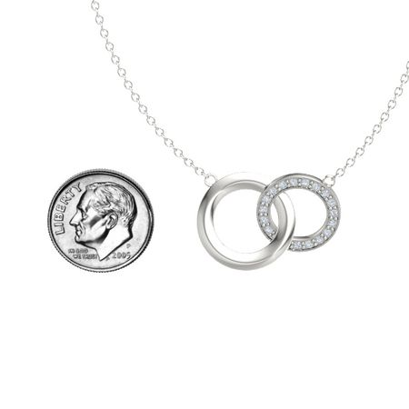14k white gold necklace with diamond interlocking circle pendant interlocking circle pendant aloadofball Choice Image
