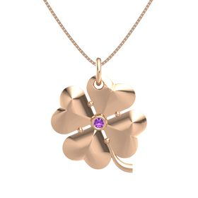 14K Rose Gold Pendant with Amethyst