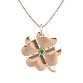 14K Rose Gold Necklace with Emerald