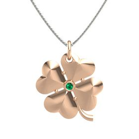 14K Rose Gold Pendant with Emerald
