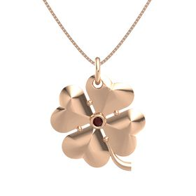 14K Rose Gold Necklace with Red Garnet