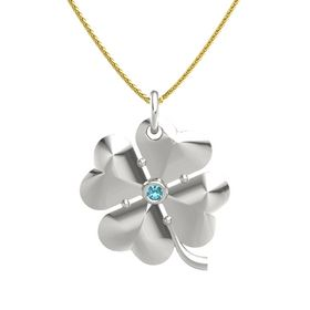 14K White Gold Pendant with London Blue Topaz