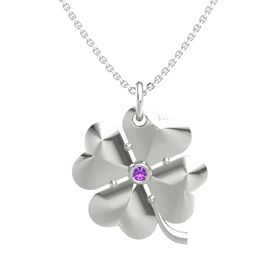 14K White Gold Pendant with Amethyst