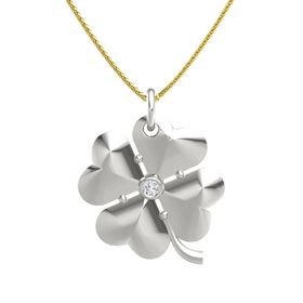14K White Gold Pendant with Diamond