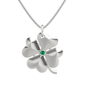 14K White Gold Pendant with Emerald