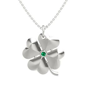 14K White Gold Necklace with Emerald