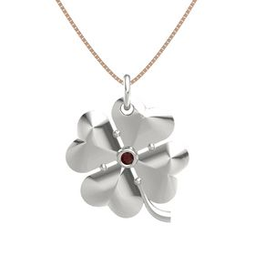 14K White Gold Pendant with Red Garnet