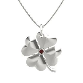 14K White Gold Necklace with Red Garnet