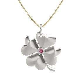 14K White Gold Necklace with Rhodolite Garnet