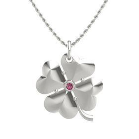14K White Gold Pendant with Rhodolite Garnet