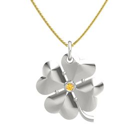 14K White Gold Pendant with Citrine