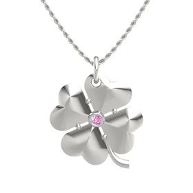 14K White Gold Necklace with Pink Sapphire