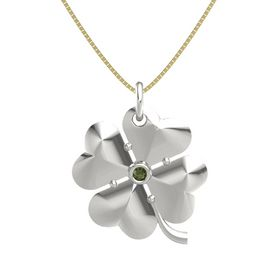 14K White Gold Necklace with Green Tourmaline