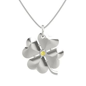 14K White Gold Necklace with Yellow Sapphire