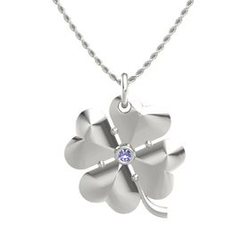 14K White Gold Pendant with Tanzanite