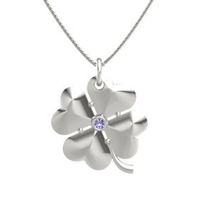 14K White Gold Necklace with Tanzanite
