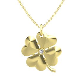 14K Yellow Gold Pendant with White Sapphire