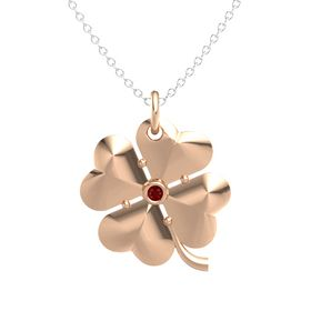 18K Rose Gold Pendant with Ruby