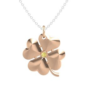18K Rose Gold Pendant with Yellow Sapphire