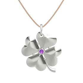 18K White Gold Pendant with Amethyst