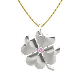 18K White Gold Pendant with Pink Sapphire