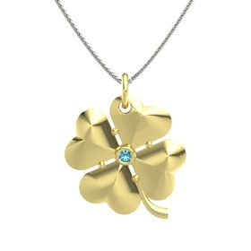 18K Yellow Gold Pendant with London Blue Topaz