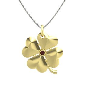 18K Yellow Gold Necklace with Red Garnet