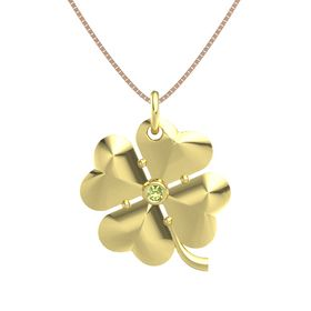 18K Yellow Gold Pendant with Peridot